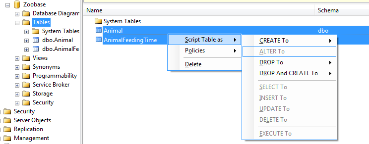 SQL Server Object Explorer-details-window-script