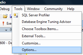 Select Tools --> Options