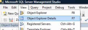 Object Explorer Details
